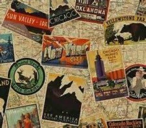 map and travel sticker pattern