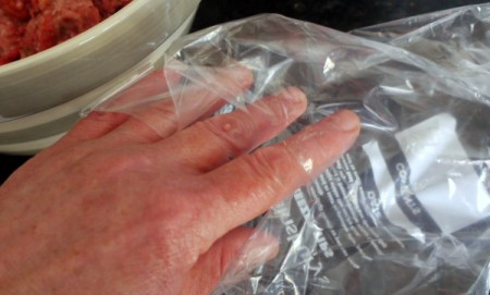 Plastic Bag for Messy Food Preparation