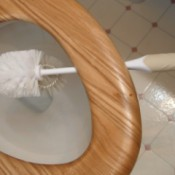 toilet brush suspended under toilet seat over bowl