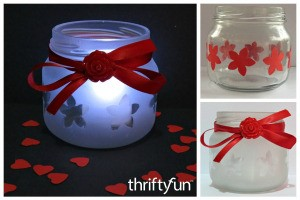 Making a Valentine's Day Jar Candle Holder