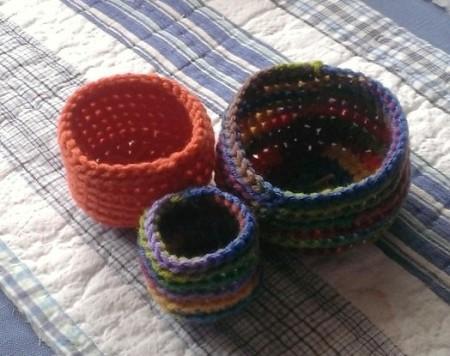 three small nesting baskets