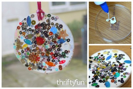 Making a Glue and Sequin Sun Catcher