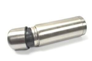 Stainless Steel Thermos against white background