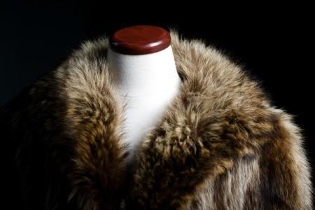 Fur coat on mannequin against a black background