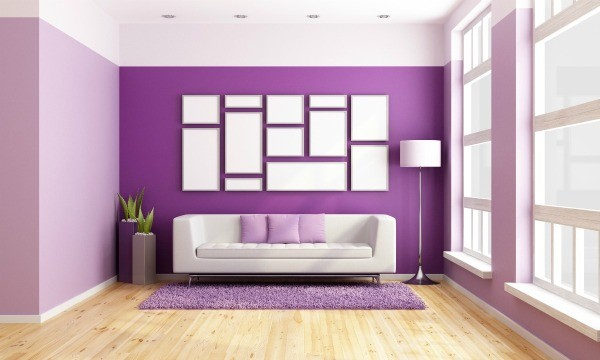 Amazing Living Room With Bright Purple Painted Walls