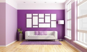 Living room with Bright Purple painted walls