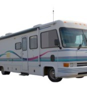 Motorhome against a white background