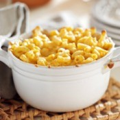 Bowl of backed macaroni and cheese