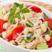 Tuna Salad with tomatoes, white beans, and cucumber.