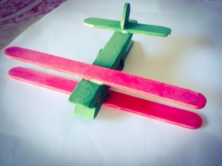 Clothespin and Popsicle Stick Plane