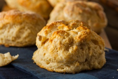 Close up of biscuits on a blue cloth