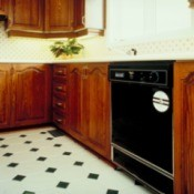 Older Kitchen with Linoleum Tile Floor