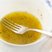 Vinaigrette salad dressing in a bowl