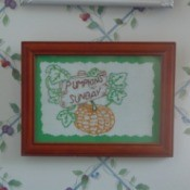 pumpkin embroidery framed
