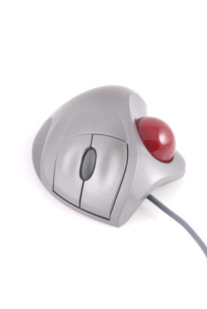 white trackball mouse with red ball