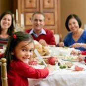 Extended family having Christmas dinner