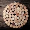 Trivet (hot pad) made from wine corks inside metal hoop