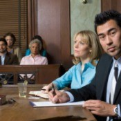 Lawyer and client in court