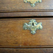 Close up image of an old fashioned dresser drawer
