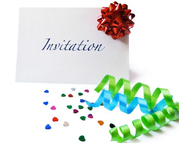Birthday party invitation wording thriftyfun blank invitation surrounded by ribbons on confetti filmwisefo