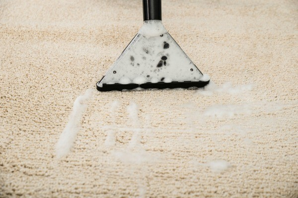 Close Up Of Carpet Shampooer Removing Suds From