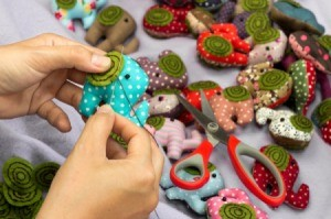 Hand sewing elephant crafts