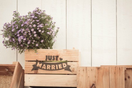 "Wood crate with ""Just Married"" written on it."