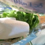 aper towel in bag of salad