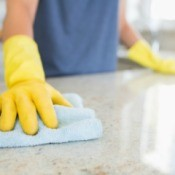 Cleaning shiny counter top with a cloth