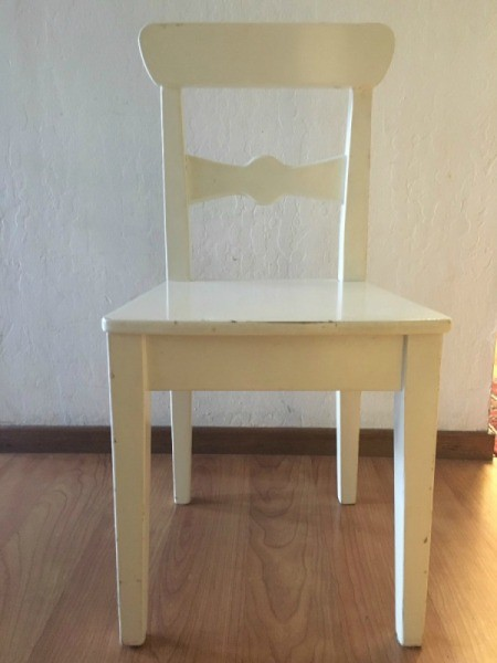 Plain white chair, before decorating.