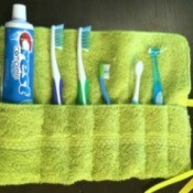 Washcloth Travel Toothbrush Holder