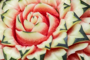 Close-up of a watermelon carved to look like a flower