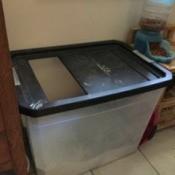 Homemade Cat Litter Box - deep storage container for litter box