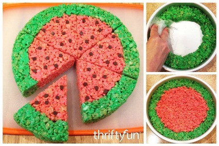Making Rice Krispy Treat Watermelon Slices
