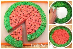 Making Rice Krispy Treat Watermelon Slices