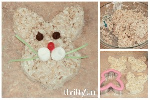Making Rice Krispy Treat Bunnies