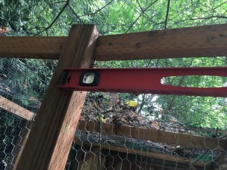 Measuring space for hanging kayak.