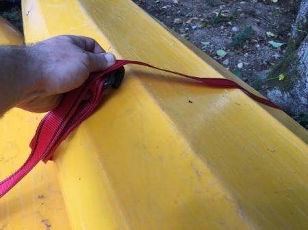 Straps for hanging the kayak.