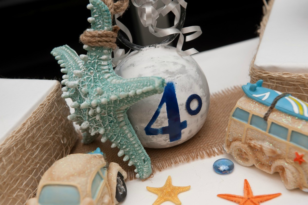 Display Of Items Surrounding A Silver Ball Ornament With 40 Written On It