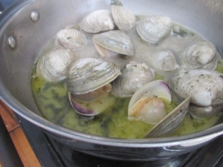 Linguine with Fresh Clam Sauce - Add clams to sauce.