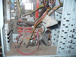 inside of a very dusty desktop computer