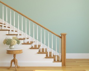 Staircase with wooden banister