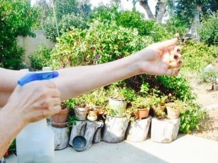 spraying on arm