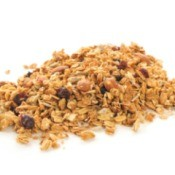 Pile of Granola on a white background