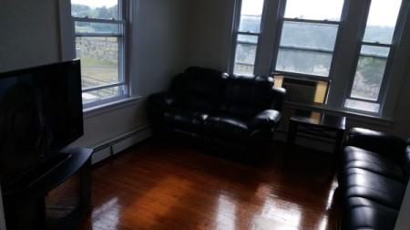 dark photo of living room