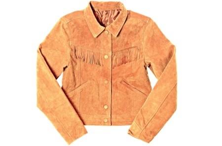 Camel colored suede jacket with fringe
