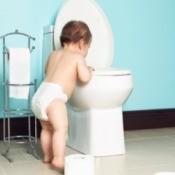 Toddler looking in open toilet