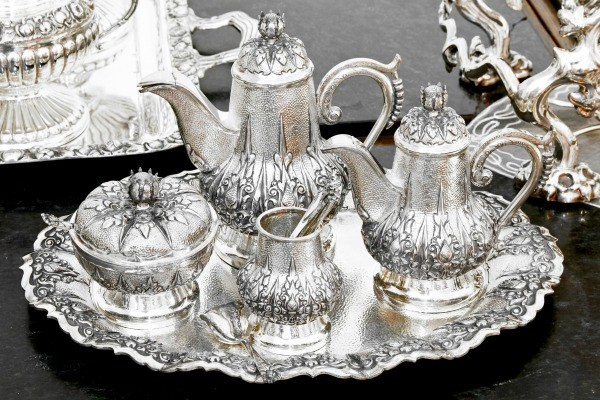 Silver tea set on tray & How Can I Tell If Something is Made of Silver? | ThriftyFun