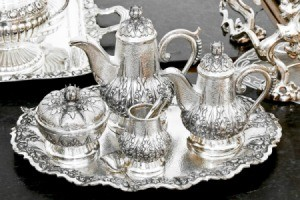 Silver tea set on tray