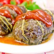 Rhubarb leaves stuffed with meat and topped with a rhubarb sauce